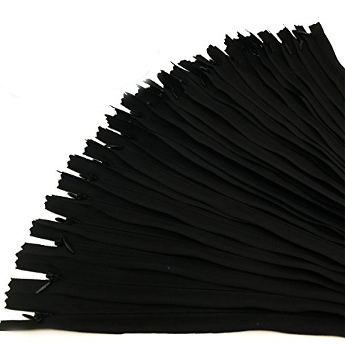 30PCS Invisible Nylon Coil Zipper,Clothing Zipper,DIY Sewing Tools for Craft Special(14 inch,Black)