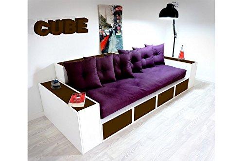 ABC MEUBLES - Boxensofa, mit Schubladen - CANAPCUBLB - Wengé