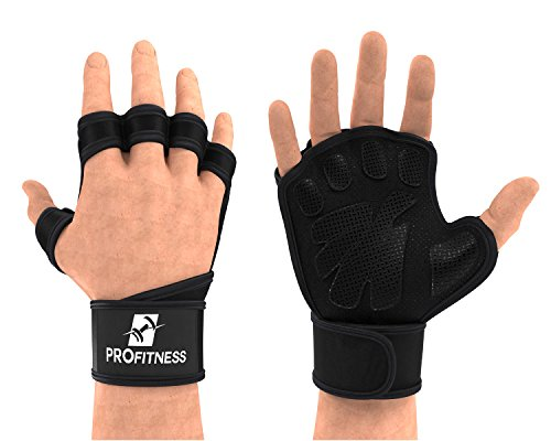 ProFitness Weight lifting Ventilated Gloves Cross training Gloves (Small, Black/White)