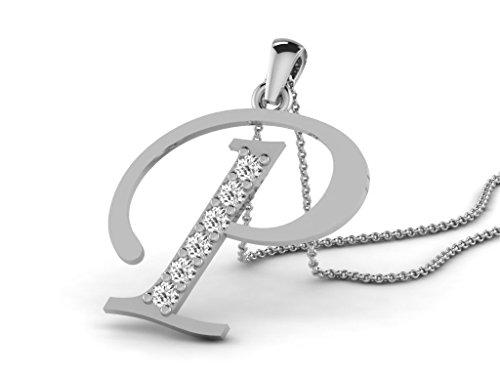 Or Blanc 14 ct Pendentifs Diamant en forme de P alphabet, 0.13 Ct Diamant, GH-SI, 0.66 grammes.