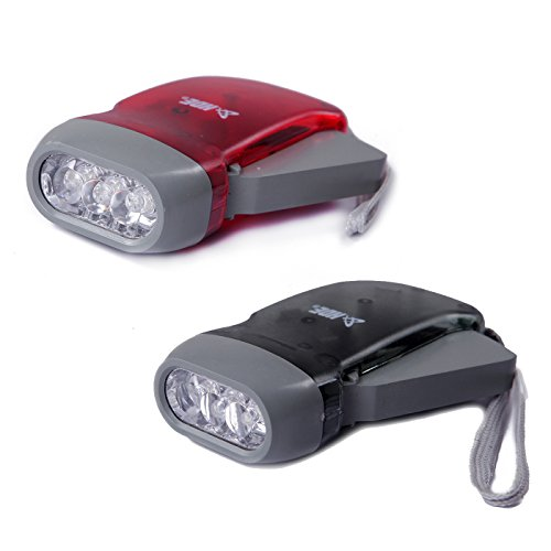 HDE Manual LED Flashlight [No Battery Required] [Instant Lighting] Hand Crank Power Emergency Light Safety Tool for Camping, Home Power Outage, Car (2 Pack) (Red/Grey) - Emergency Flashlight No Batteries