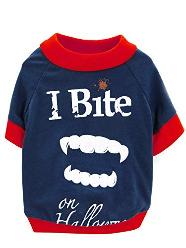 BesserBay Puppy [I Bite on Halloween] Vampire Teeth Printed Tees Navy Suit Cosplay Costume Pet Dog Cat Doggie Fall T Shirt Red