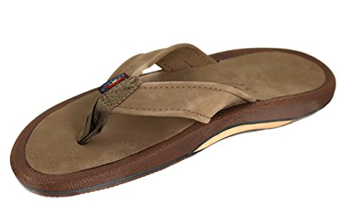 Rainbow Navigator - Men's Dark Brown Orthopedic Foot Bed with Arch Leather Top Tapered Strap Flip Flop Sandals - Size (Brown Single Arch)