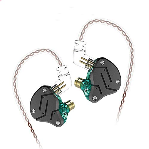 KZ ZSN Hybrid Driver IEM Detachable Tangle-Free Cable Musicians (Black Cyan) (Best Iem Under 250)