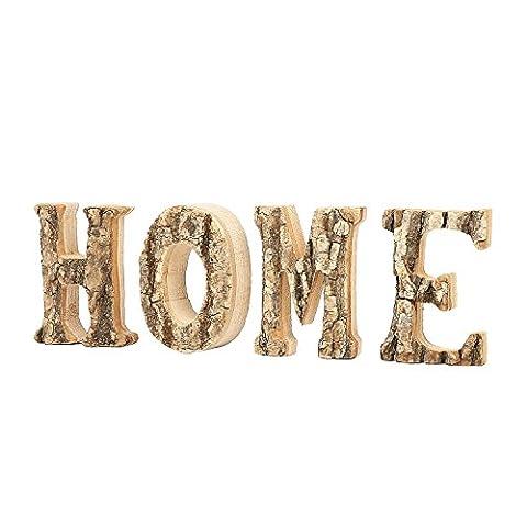4 Inch Decorative Tree Bark Design 'HOME' Wood Block Letter Sign - Sign Blocks Decor