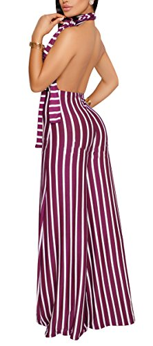 sexycherry Women's Sexy Halter Strap Stripe Sleeveless High Waisted Wide Leg Long Pants Backless Jumpsuits (Wide Disco)