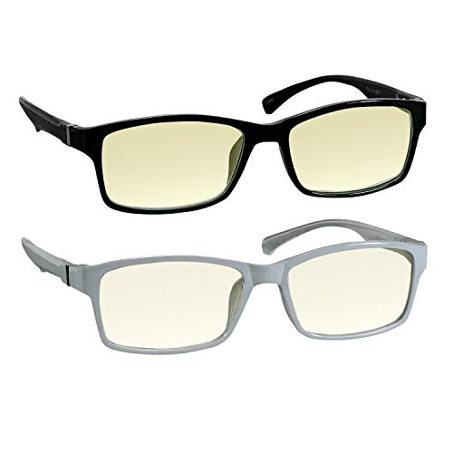 Computer Reading Glasses 1.00 Black White Protect Your Eyes Against Eye Strain, Fatigue and Dry Eyes from Digital Gear with Anti Blue Light, Anti UV, Anti Glare, and are Anti Reflective