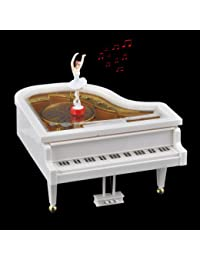 Mechanical Piano Music Box with Dancing Ballerina Great gift, White & Gold