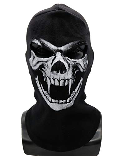 Tinyones Thick Skeleton Skull Ghost Death Halloween Balaclava Face Mask for Cosplay Costume (Blood Sucking Skeleton) -