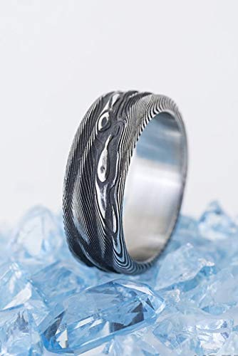 Handmade Damascus Band for Men or Women - Custom made - Stainless Steel Ring - Mens Engagement Ring - Lord of Water Ring