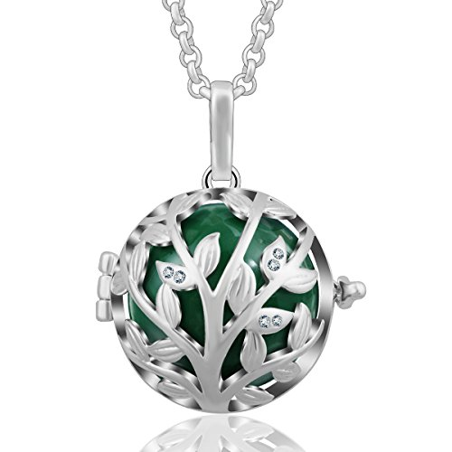 Bell Charm Necklace - AEONSLOVE Tree of Life CZ Rhinestones Harmony Bola Chime Bell Angel Caller Pendant Necklaces for Women,30'' Chain (Deep Green)