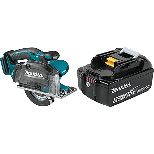 Makita XSC03Z 18 Volt LXT Lithium-Ion Cordless 5-3 8 Inch Metal Cutting Saw, with Electric Brake and Chip Collector with Makita BL1850B 18 Volt LXT Lithium-Ion 5.0Ah Battery
