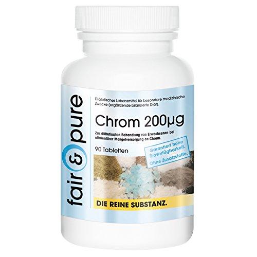 Chrom 200mcg, aus Chrom-III-Picolinat, 90 Tabletten, frei von Hilfs- und Zusatzstoffen, vegetarisch