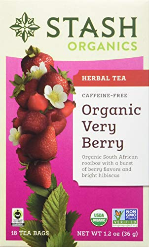 - Stash Tea Organic Very Berry Herbal Tea 18 Count Tea Bags in Foil (Pack of 6) (Packaging May Vary) Individual Herbal Tea Bags for Use in Teapots Mugs or Cups, Brew Hot Tea or Iced Tea