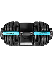 Flousher Adjustable Dumbbells 1pc 5-52.5lbs Fitness Dumbbell Standard with Handle and Weight Plate for Home Gym System Blue