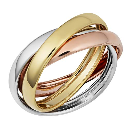 (Kooljewelry Tri-color Gold Over Sterling Silver Interlocked Rolling Rings (size 10))
