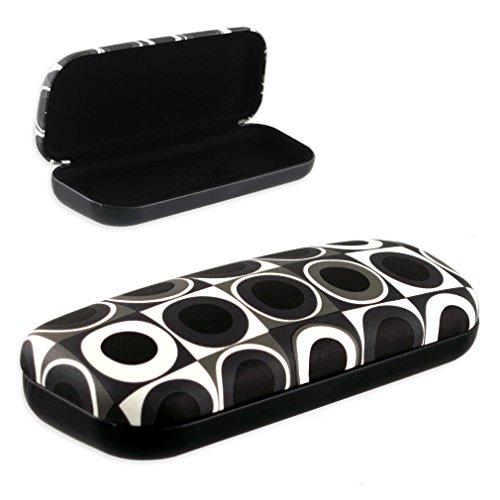 Women Medium Hard Eyeglass Case Kids Protective Hard Shell Glasses Case with Microfiber Cleaning Cloth (AS126 Bullseye Black)