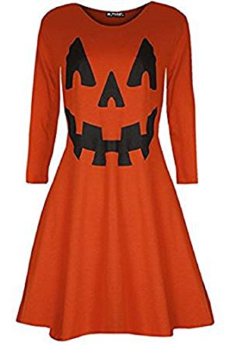Damen Schädel Und Kürbis Flared Swing Kleid Halloween Party Orange ...