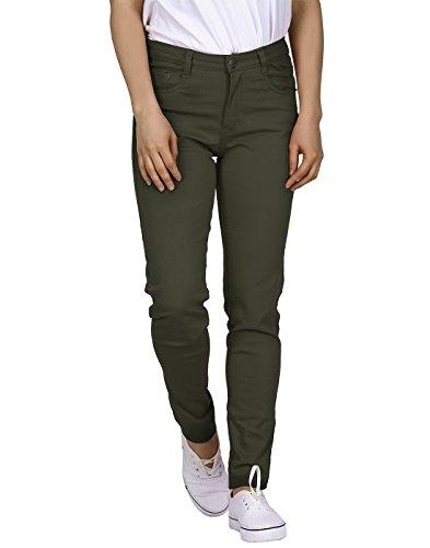 HDE Womens Jeans Jeggings Five Pocket Stretch Denim Pants (Olive Green) XL Olive Green X-Large