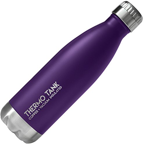 Thermo Tank Insulated Stainless Steel Water Bottle - Ice Cold 36 Hours! Vacuum + Copper Technology - 17 Ounce (Royal Purple, - Copper And Purple