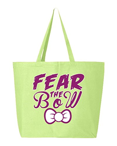 Shop4Ever Fear The Bow Heavy Canvas Tote Cheerleader Reusable Shopping Bag 10 oz Lime -Pack of 1- Jumbo (Acc Bow Green)
