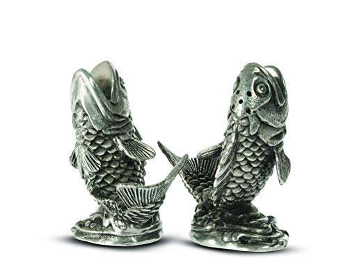 (Vagabond House Pewter Metal Fisherman/Angler Salmon Salt and Pepper Shaker Set - 2.5