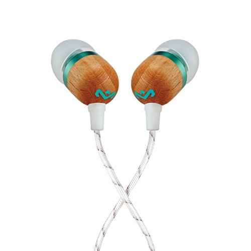 House of Marley, Smile Jamaica Wired In-Ear Headphones - In-line Microphone with 1-Button Remote, Noise Isolating, Durable, Tangle Free Cable, EM-JE041-MN Mint