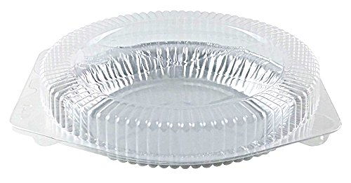 Pactogo 9 inch Aluminum Foil Pie Pans 1 inch Medium Deep - Made in USA Disposable Tins w/Clear Hinged Clamshell Container (Case of 200 Sets)