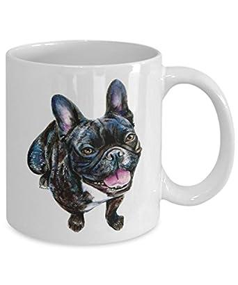 Smiling French Bulldog Mug - Style No.1 - Cool Ceramic Frenchie Coffee Cup (15oz)