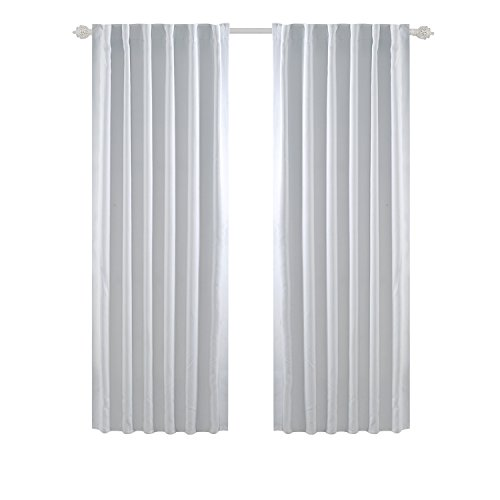 (Deconovo Solid Back Tab Curtains Blackout Curtains Thermal Insulated Drapes and Curtains Room Darkening Curtains for Living Room 52x84 Inch Greyish White 2 Panels)