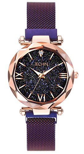 (Jechin Fashion Women's Beautiful Starry Sky Purple Magnetic Buckle Bracelet Watches for Woman)