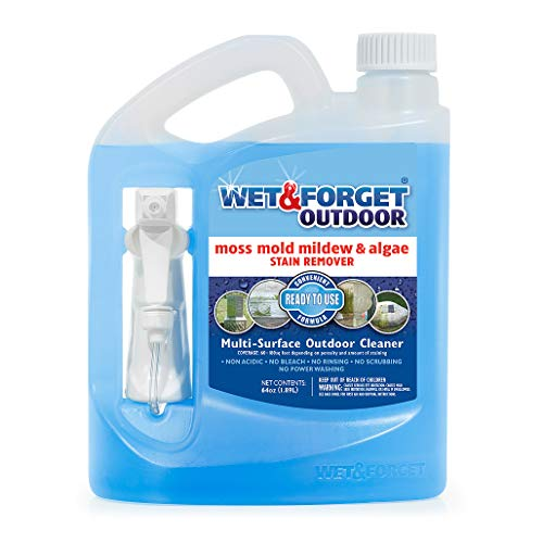 Wet & Forget Outdoor Ready To Use Moss, Mold, Mildew & Algae Stain Remover, 64 OZ. - 804064 (Best Moss Killer For Patios)