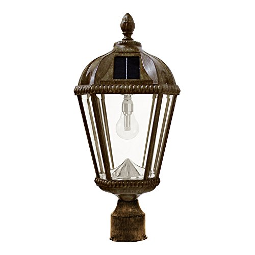 Lantern Royal Bronze (Gama Sonic Royal Bulb Solar Outdoor Post Light GS-98B-F-WB - Weathered Bronze Finish)
