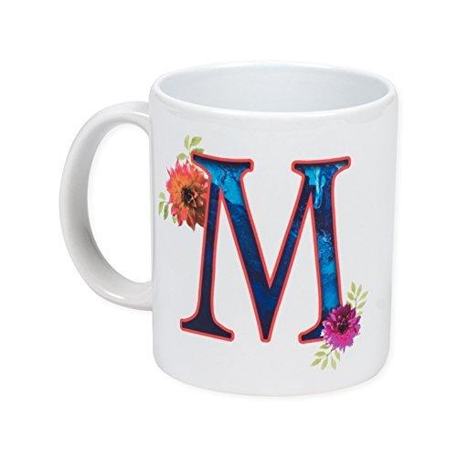 Floral Monogram Letter M, 11 Ounce Ceramic Coffee Mug