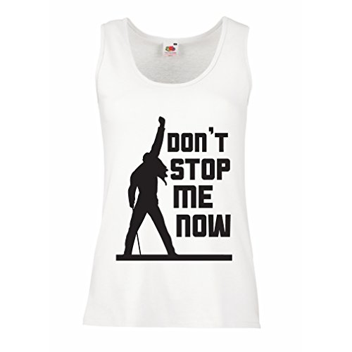 lepni.me Women's Tank Top Don't Stop me Now! Vintage Rock Band Clothing, Musically Merch (Large White Multi Color)