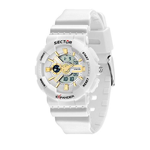 SECTOR Women's Ex-15 Analog-Quartz Sport Watch with Plastic Strap, White, 18 (Model: R3251515503