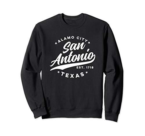 Vintage San Antonio Alamo City Texas White Text Sweatshirt (Distance From San Antonio Texas To Dallas Texas)