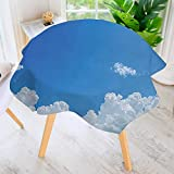 UHOO2018 Circular Table Cover Washable Polyester-Collection Cloud Frame Skylight to Clear Sky Sunny Day Decorative Nature Picture Scene Stain Resistant Wrinkle Free Dust Table Cover 71'' Round