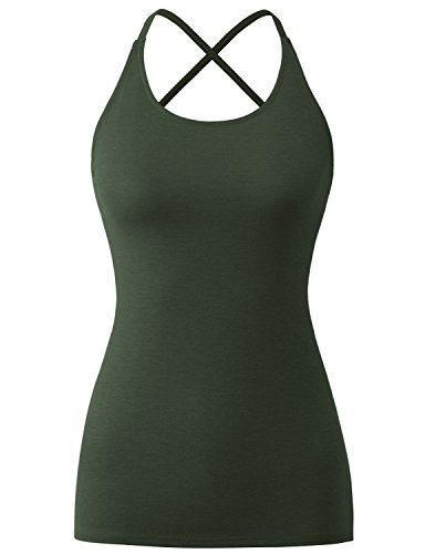 - Regna X Open Back Women's Sleeveless Scoop Neck Crisscross Bandage Tank Tops