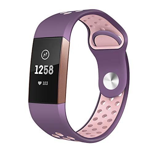 TSAAGAN Compatible Fitbit Charge 3 Bands, Replacement Accessory Breathable Sport Wristband Compatible for Fitbit Charge 3/ Charge 3 SE Fitness Tracker