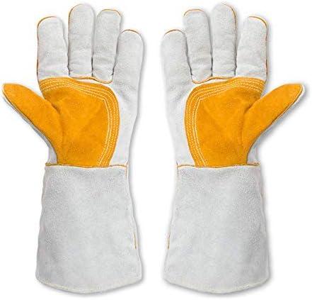 AMAZACER 溶接手袋は耐性革、床革バック、裏地コットン、溶接機暖炉ストーブポットホルダーワークプレイスグローブ、2pairを熱し (Size : 5pair)