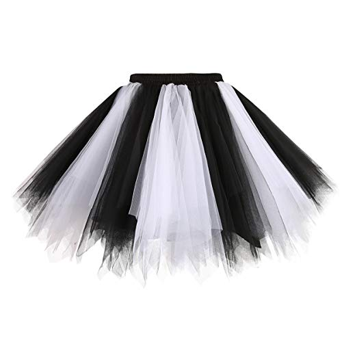 (Topdress Women's 1950s Vintage Tutu Petticoat Ballet Bubble Skirt (26 Colors) Black White)