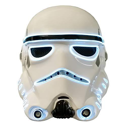 Trippy Lights Star Wars LED Light up Storm Trooper Movie Half Helmet Halloween Mask (White)