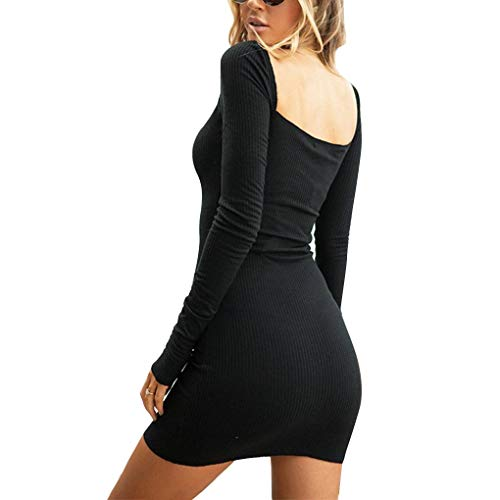 Nero Donne del Sexy Abito Dress dell'anca Collar Pacchetto Mini Solid Corto Republe Square qA7xOx