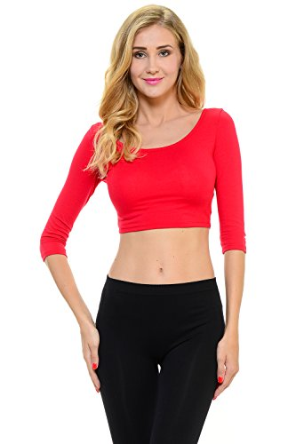 Sleeve 1/2 Top (Yourstyle USA Basic Cotton Lycra Ballerina 1/2 Sleeve Casual Crop Top (Medium, Red))