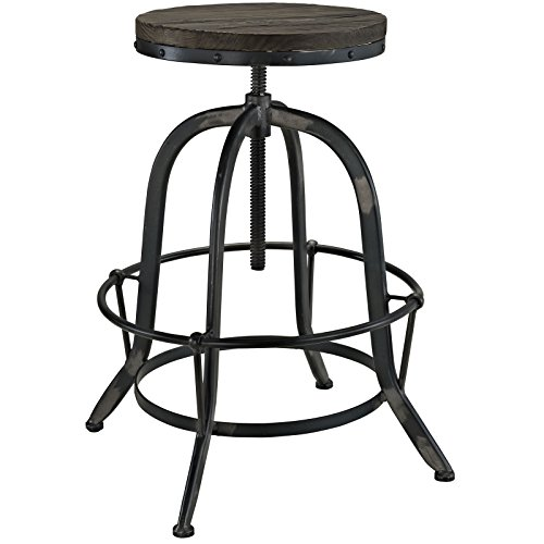 Modway Collect Modern Farmhouse Cast Iron Bar Stool in Black with Wood Seat