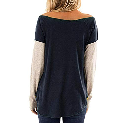 De Tops Camisa Pullover Sweatshirt Patchwork Camisas Blusas Camiseta Luckycat Armada O 2 Suelto Larga Casual Manga Mujer cuello 5wA77qx