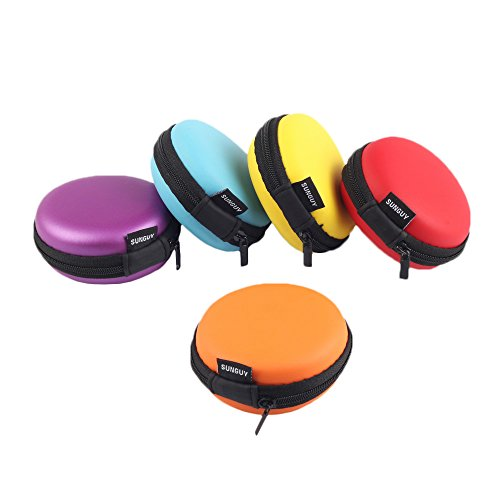Earbud Cases, SUNGUY [5-Pack] Small Round Pocket Earbud Travel Carrying Case for Smartphone Earphone Bluetooth Headset Storage Bags Hard EVA Headphone Box 5 Colors (Red,Yellow,Blue,Orange,Purple)