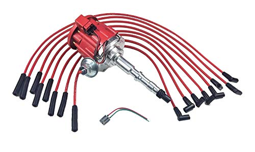 A-Team Performance HEI DISTRIBUTOR 65K RED SPARK PLUG WIRES Compatible With AMC JEEP 67-90 290 304 343 360 390 401 ()