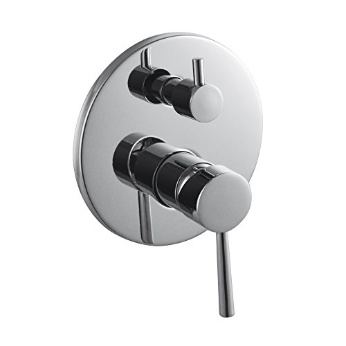 KES Bathroom Mixing Valve Body and Trim with 2-Function Diverter Round Faceplate Single Lever Rough-in Valve Polished Chrome, L6722